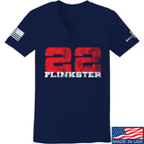 22plinkster Ladies 22plinkster Logo V-Neck T-Shirts, V-Neck SMALL / Navy by Ballistic Ink - Made in America USA