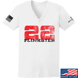 22plinkster Ladies 22plinkster Logo V-Neck T-Shirts, V-Neck SMALL / White by Ballistic Ink - Made in America USA