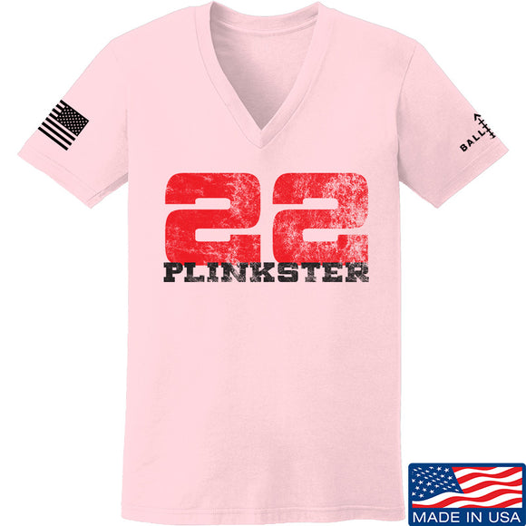 22plinkster Ladies 22plinkster Logo V-Neck T-Shirts, V-Neck SMALL / Light Pink by Ballistic Ink - Made in America USA
