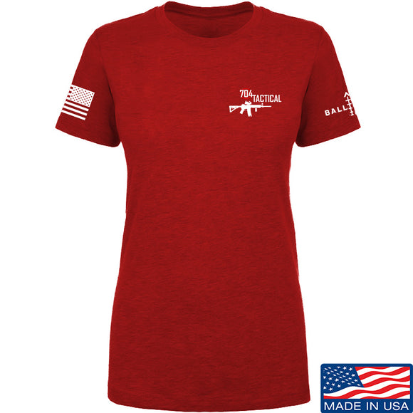 704 Tactical Ladies 704 Tactical Chest Logo T-Shirt T-Shirts SMALL / Red by Ballistic Ink - Made in America USA