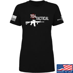 704 Tactical Ladies 704 Tactical Full Logo T-Shirt T-Shirts SMALL / Black by Ballistic Ink - Made in America USA