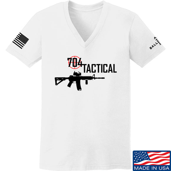 704 Tactical Ladies 704 Tactical Full Logo V-Neck T-Shirts, V-Neck SMALL / White by Ballistic Ink - Made in America USA