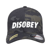9mmsmg Disobey Flexfit® Multicam® Trucker Mesh Cap Headwear Black Multicam by Ballistic Ink - Made in America USA