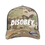 9mmsmg Disobey Flexfit® Multicam® Trucker Mesh Cap Headwear Multicam by Ballistic Ink - Made in America USA