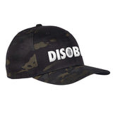 9mmsmg Disobey Flexfit® Multicam® Trucker Cap Headwear Black Multicam S/M by Ballistic Ink - Made in America USA
