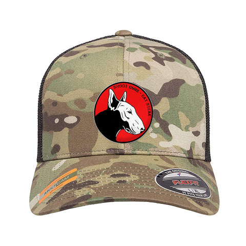 9mmsmg 9mmsmg Logo Flexfit® Multicam® Trucker Mesh Cap Headwear [variant_title] by Ballistic Ink - Made in America USA