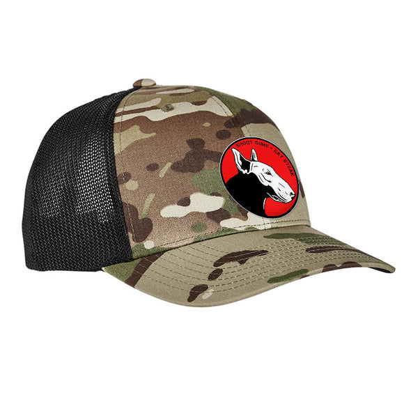 9mmsmg 9mmsmg Logo Flexfit® Multicam® Trucker Mesh Cap Headwear Multicam by Ballistic Ink - Made in America USA