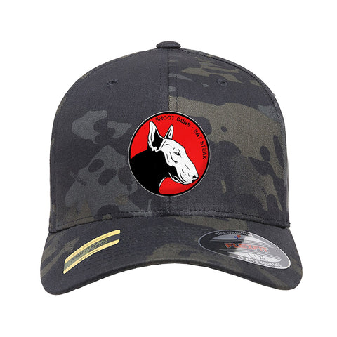 9mmsmg 9mmsmg Logo Flexfit® Multicam® Trucker Cap Headwear Black Multicam S/M by Ballistic Ink - Made in America USA