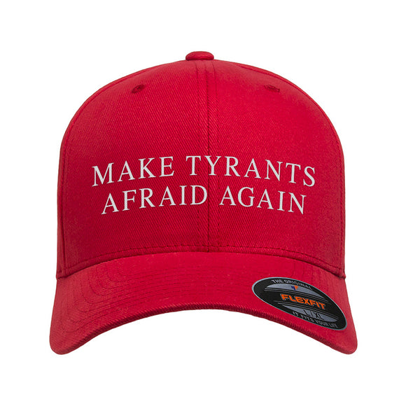 9mmsmg Make Tyrants Afraid Again Flexfit® Cap Headwear Red S/M by Ballistic Ink - Made in America USA