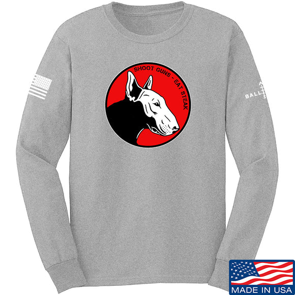 9mmsmg 9mmsmg Logo Long Sleeve T-Shirt Long Sleeve Small / Light Grey by Ballistic Ink - Made in America USA