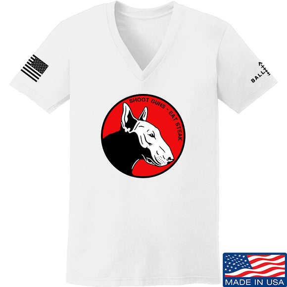 9mmsmg Ladies 9mmsmg Logo V-Neck T-Shirts, V-Neck SMALL / White by Ballistic Ink - Made in America USA