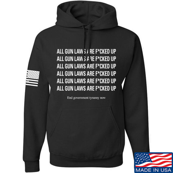 9mmsmg All Gun Laws Are F*cked Up Hoodie Hoodies Small / Black by Ballistic Ink - Made in America USA