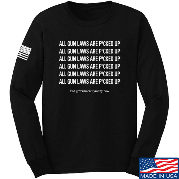 9mmsmg All Gun Laws Are F*cked Up Long Sleeve T-Shirt Long Sleeve Small / Black by Ballistic Ink - Made in America USA