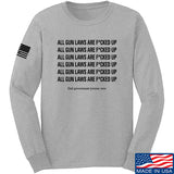 9mmsmg All Gun Laws Are F*cked Up Long Sleeve T-Shirt Long Sleeve Small / Light Grey by Ballistic Ink - Made in America USA