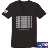 9mmsmg Ladies All Gun Laws Are F*cked Up V-Neck T-Shirts, V-Neck SMALL / Black by Ballistic Ink - Made in America USA