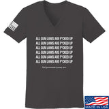 9mmsmg Ladies All Gun Laws Are F*cked Up V-Neck T-Shirts, V-Neck SMALL / Charcoal by Ballistic Ink - Made in America USA