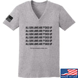 9mmsmg Ladies All Gun Laws Are F*cked Up V-Neck T-Shirts, V-Neck SMALL / Light Grey by Ballistic Ink - Made in America USA