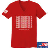 9mmsmg Ladies All Gun Laws Are F*cked Up V-Neck T-Shirts, V-Neck SMALL / Red by Ballistic Ink - Made in America USA