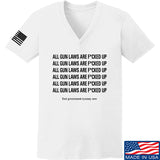 9mmsmg Ladies All Gun Laws Are F*cked Up V-Neck T-Shirts, V-Neck SMALL / White by Ballistic Ink - Made in America USA