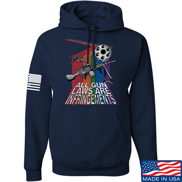 9mmsmg All Gun Laws Are Infringements Hoodie Hoodies Small / Navy by Ballistic Ink - Made in America USA