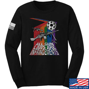 9mmsmg All Gun Laws Are Infringements Long Sleeve T-Shirt Long Sleeve Small / Light Grey by Ballistic Ink - Made in America USA