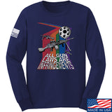 9mmsmg All Gun Laws Are Infringements Long Sleeve T-Shirt Long Sleeve Small / Navy by Ballistic Ink - Made in America USA