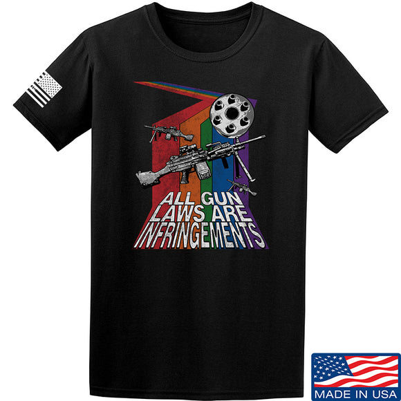 9mmsmg All Gun Laws Are Infringements T-Shirt T-Shirts Small / Black by Ballistic Ink - Made in America USA