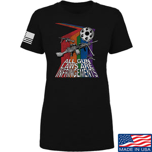 9mmsmg Ladies All Gun Laws Are Infringements T-Shirt T-Shirts SMALL / Black by Ballistic Ink - Made in America USA