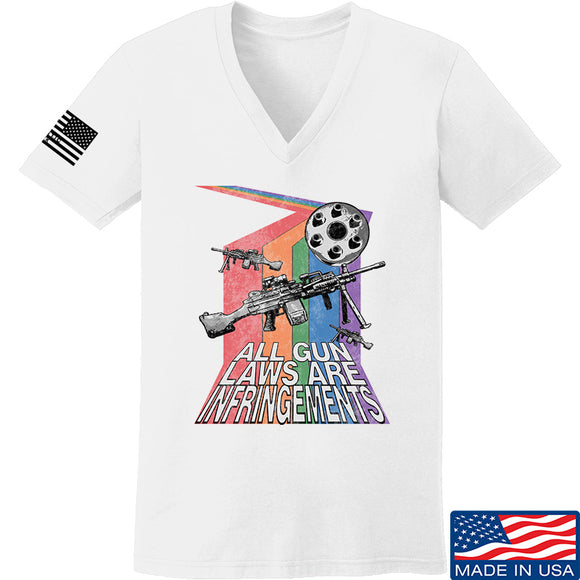 9mmsmg Ladies All Gun Laws Are Infringements V-Neck T-Shirts, V-Neck SMALL / White by Ballistic Ink - Made in America USA