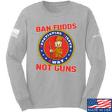 9mmsmg Ban Fudds Not Guns Long Sleeve T-Shirt Long Sleeve Small / Light Grey by Ballistic Ink - Made in America USA