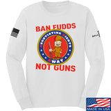 9mmsmg Ban Fudds Not Guns Long Sleeve T-Shirt Long Sleeve Small / White by Ballistic Ink - Made in America USA