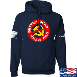 9mmsmg Better Dead Than Red Hoodie Hoodies Small / Black by Ballistic Ink - Made in America USA
