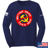 9mmsmg Better Dead Than Red Long Sleeve T-Shirt Long Sleeve Small / Navy by Ballistic Ink - Made in America USA