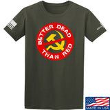 9mmsmg Better Dead Than Red T-Shirt T-Shirts Small / Military Green by Ballistic Ink - Made in America USA