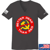 9mmsmg Ladies Better Dead Than Red V-Neck T-Shirts, V-Neck SMALL / Charcoal by Ballistic Ink - Made in America USA