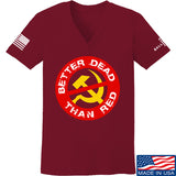 9mmsmg Ladies Better Dead Than Red V-Neck T-Shirts, V-Neck SMALL / Cranberry by Ballistic Ink - Made in America USA