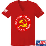 9mmsmg Ladies Better Dead Than Red V-Neck T-Shirts, V-Neck SMALL / Red by Ballistic Ink - Made in America USA