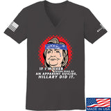 9mmsmg Ladies Hillary Did It V-Neck T-Shirts, V-Neck SMALL / Charcoal by Ballistic Ink - Made in America USA