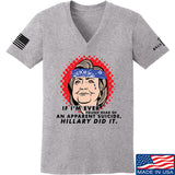 9mmsmg Ladies Hillary Did It V-Neck T-Shirts, V-Neck SMALL / Light Grey by Ballistic Ink - Made in America USA