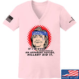 9mmsmg Ladies Hillary Did It V-Neck T-Shirts, V-Neck SMALL / Light Pink by Ballistic Ink - Made in America USA