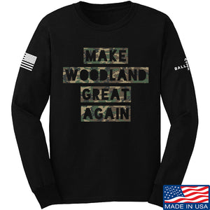 9mmsmg Make Woodland Great Again Long Sleeve T-Shirt Long Sleeve Small / Navy by Ballistic Ink - Made in America USA