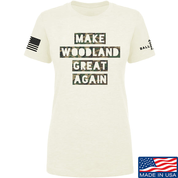 9mmsmg Ladies Make Woodland Great Again T-Shirt T-Shirts SMALL / Cream by Ballistic Ink - Made in America USA