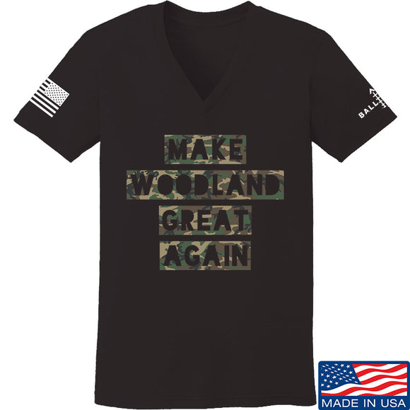 9mmsmg Ladies Make Woodland Great Again V-Neck T-Shirts, V-Neck SMALL / Black by Ballistic Ink - Made in America USA