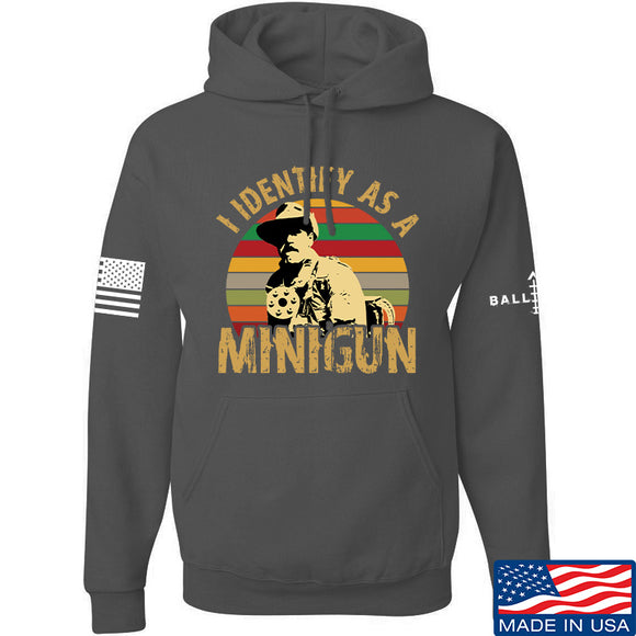 9mmsmg Identify As Minigun Hoodie Hoodies Small / Charcoal by Ballistic Ink - Made in America USA