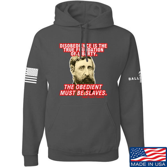 9mmsmg Obedient Equals Slavery Hoodie Hoodies Small / Charcoal by Ballistic Ink - Made in America USA