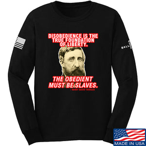 9mmsmg Obedient Equals Slavery Long Sleeve T-Shirt Long Sleeve Small / Light Grey by Ballistic Ink - Made in America USA