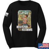 9mmsmg Register Nothing Long Sleeve T-Shirt Long Sleeve Small / Black by Ballistic Ink - Made in America USA