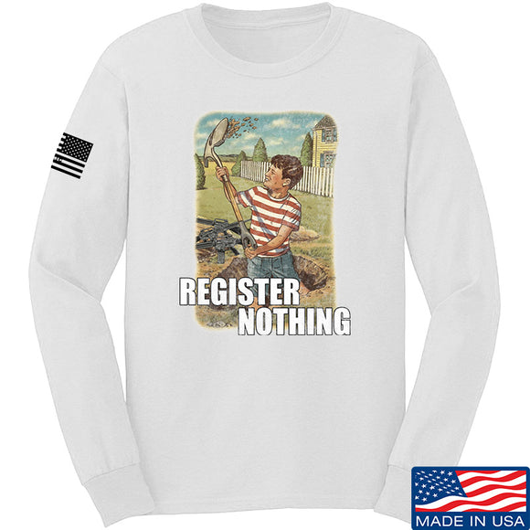 9mmsmg Register Nothing Long Sleeve T-Shirt Long Sleeve Small / White by Ballistic Ink - Made in America USA