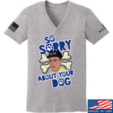 9mmsmg Ladies Sorry About Your Dog V-Neck T-Shirts, V-Neck SMALL / Light Grey by Ballistic Ink - Made in America USA