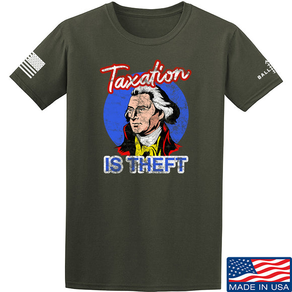 9mmsmg Taxation is Theft T-Shirt T-Shirts Small / Military Green by Ballistic Ink - Made in America USA